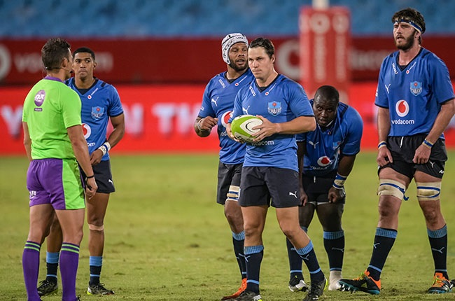 Referee  AJ Jacobs and Chris Smith. (Photo by Christiaan Kotze/Gallo Images)