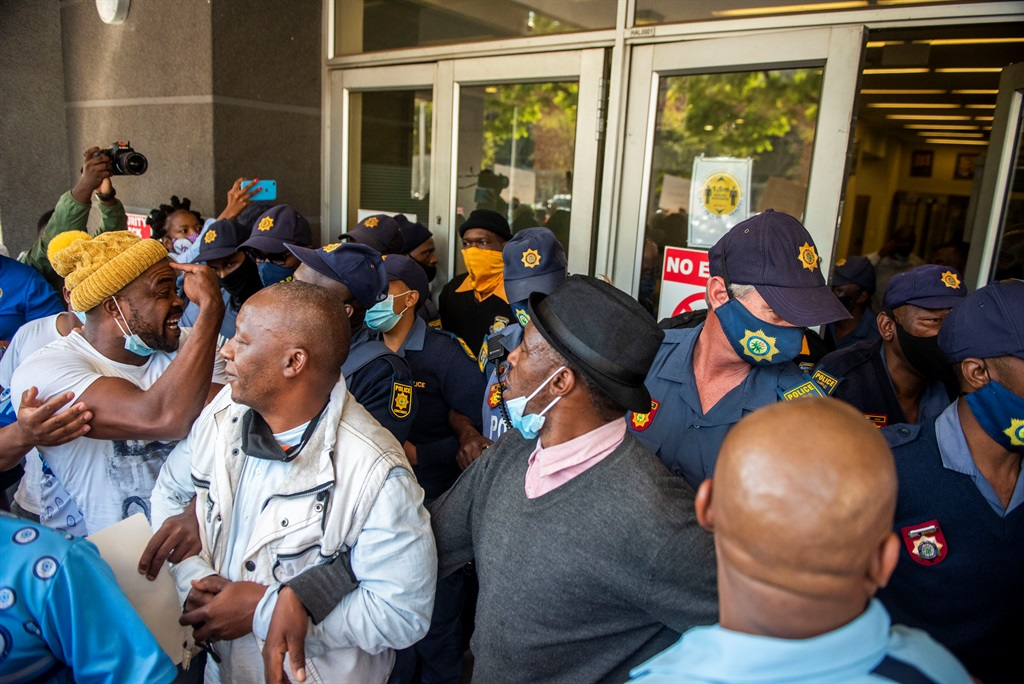 Funeral undertakers protest at the Department of Home Affairs Head Offices in Pretoria. (Photo by Gallo Images/Alet Pretorius)