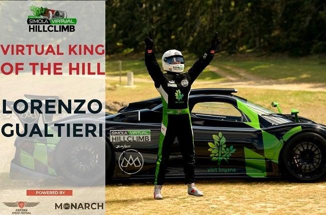 Lorenzo Gualtieri wins 2021 Virtual Knysna Simola Hillclimb
