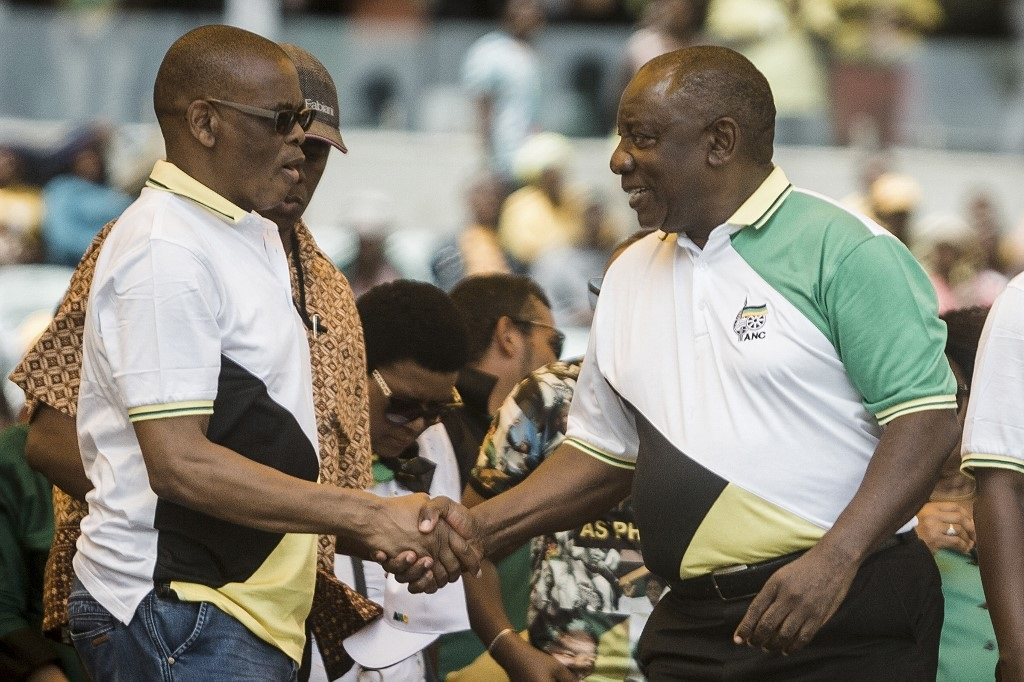 ANC president Cyril Ramaphosa (right) with suspended party secretary-general Ace Magashule (left).
