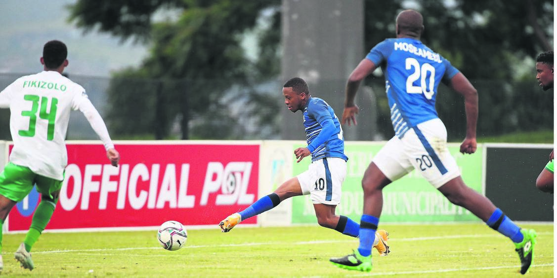 On-form Maritzburg United skipper Thabiso Kutumela, who is with the national team at present.