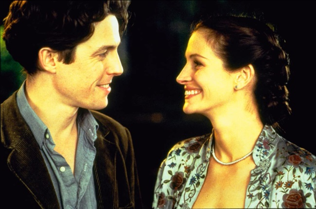 In the 1999 movie Hugh Grant's character William Thacker falls for movie star Anna Scott, played by Julia Roberts, after a chance meeting in a book shop. (CREDIT: UIP / Imdb.com)
