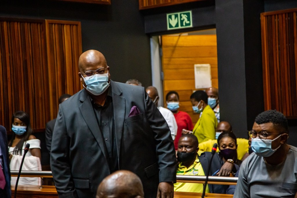 Danny Msiza appeared with 13 other accused in the Johannesburg Commercial Crimes Court on Friday. (Photo: OJ Koloti/Gallo Images)