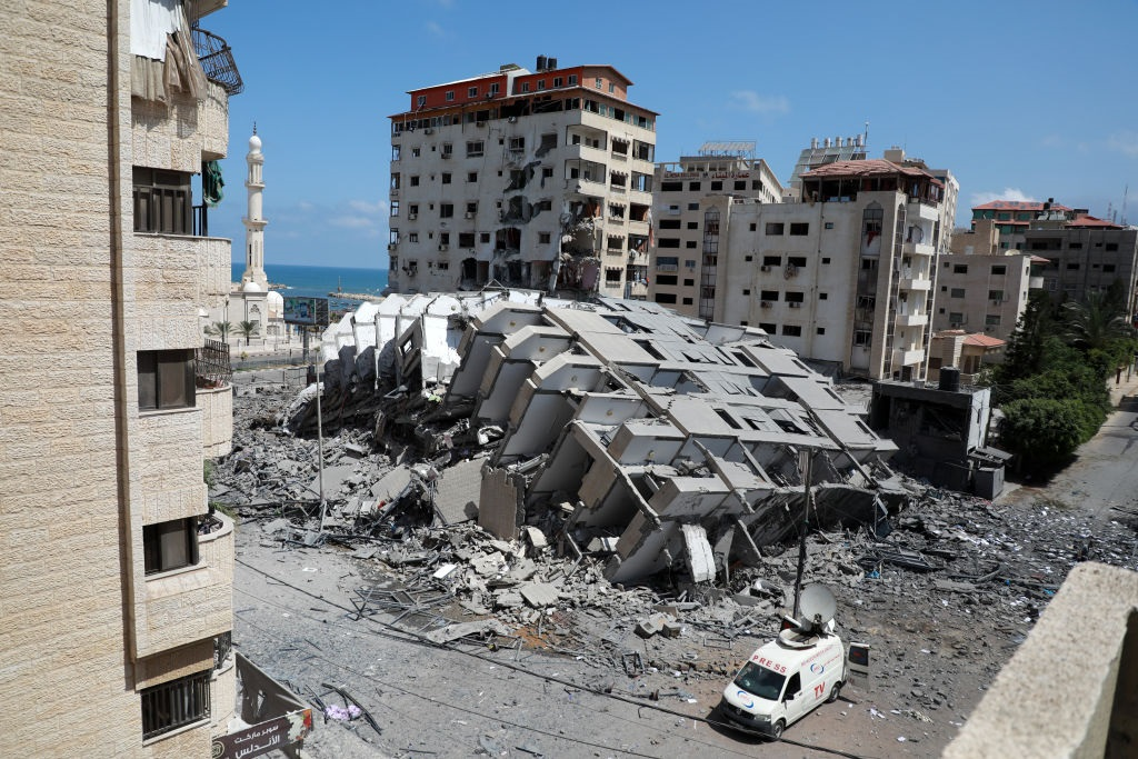 A destroyed building in Gaza City, following a series of Israeli airstrikes on the Hamas-controlled Gaza Strip.