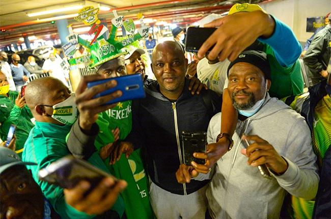An emotional Pitso Mosimane bids farewell to Mamelodi Sundowns supporters. (Photo by Lefty Shivambu/Gallo Images)