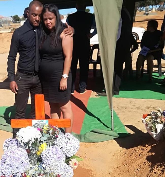 Bradley and Sandy at Kayden's funeral last week.