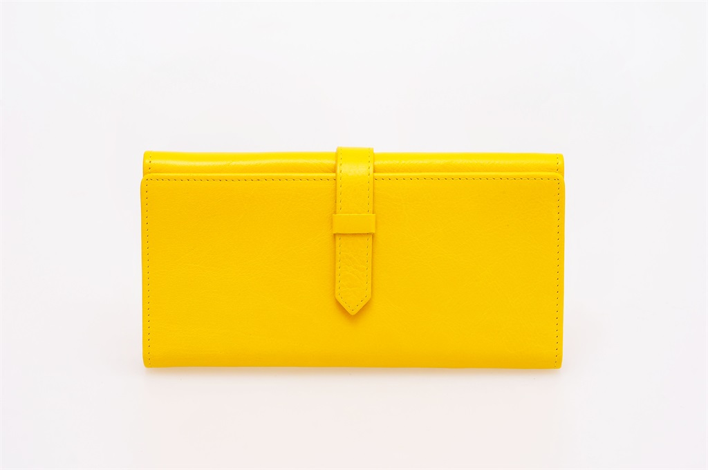 yellow purse on a white background