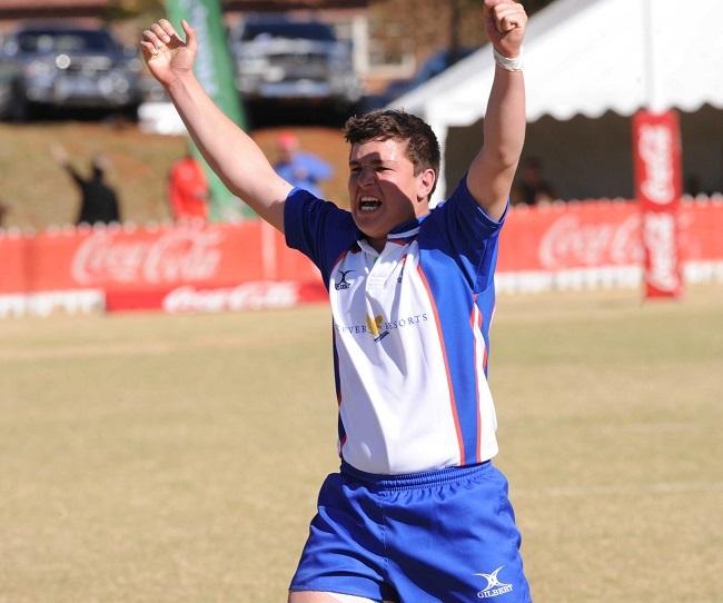 13-year-old Schalk Erasmus celebrates his winning
