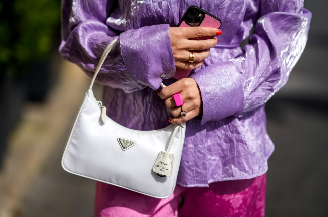 The Prada Re-edition 2000 handbag spotted in Paris. (Photo by Edward Berthelot/Getty Images)