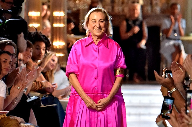 Miuccia Prada walks the runway during the finale of the Miu Miu 2019 Cruise Collection Show at Hotel Regina on June 30, 2018 in Paris, France. (Photo by Victor VIRGILE/Gamma-Rapho via Getty Images)