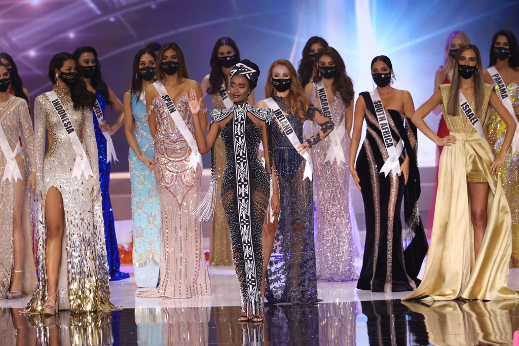 Miss Universe 2019 Zozibini Tunzi appears onstage at the Miss Universe 2021 Pageant at Seminole Hard Rock Hotel & Casino on May 16, 2021.