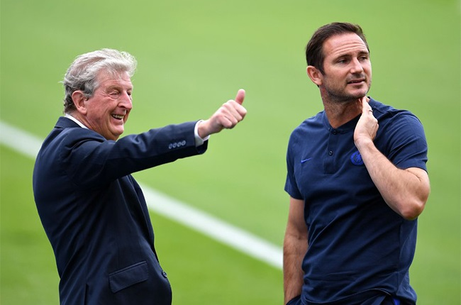 Crystal Palace manager Roy Hodgson with Frank Lampard. (Getty Images)