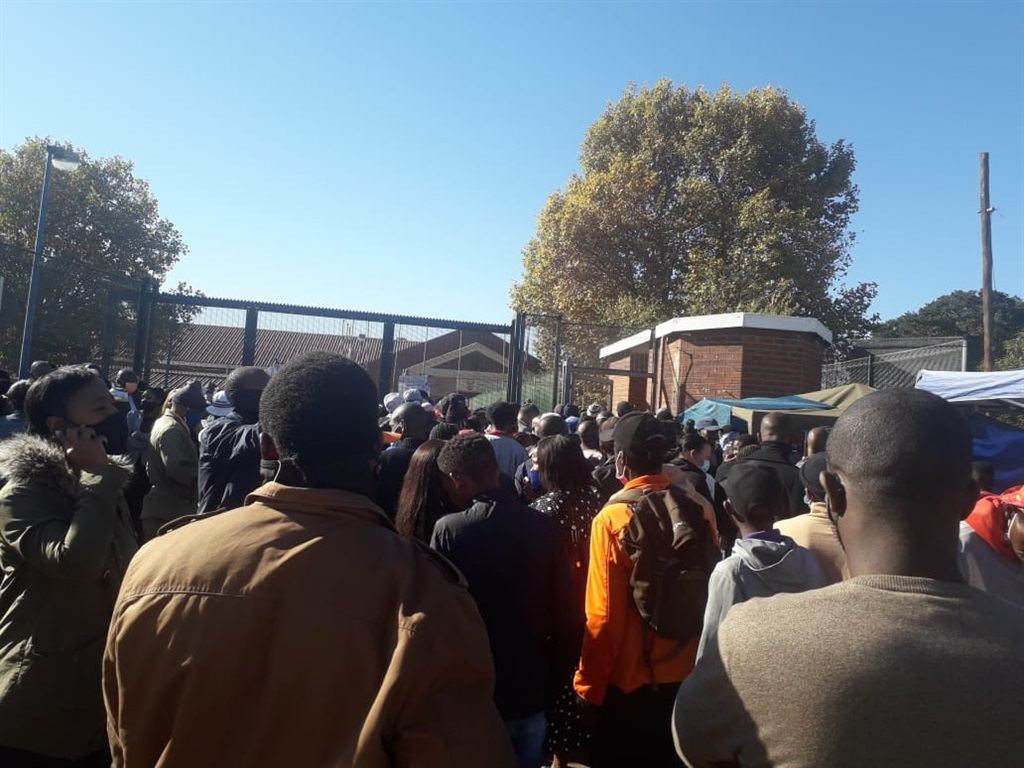 People left stranded outside the Protea Magistrate's Court.
