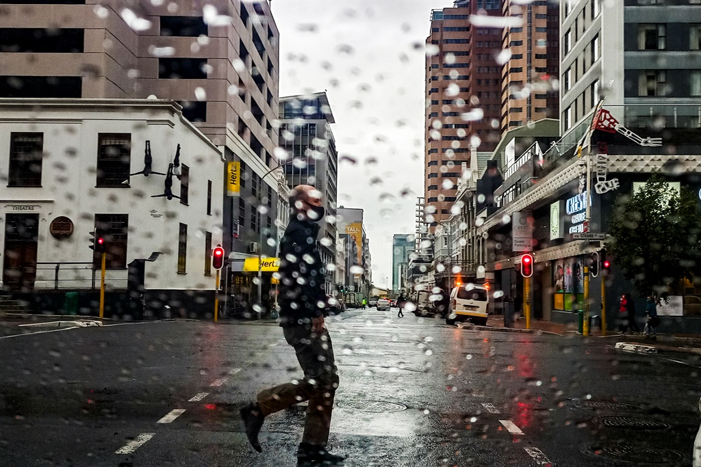 A general view of wet weather conditions in Cape Town.
