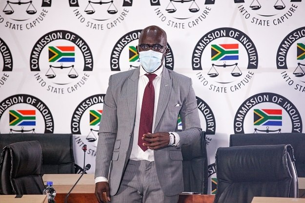 Malusi Gigaba gives evidence at the Zondo Commission on Friday.