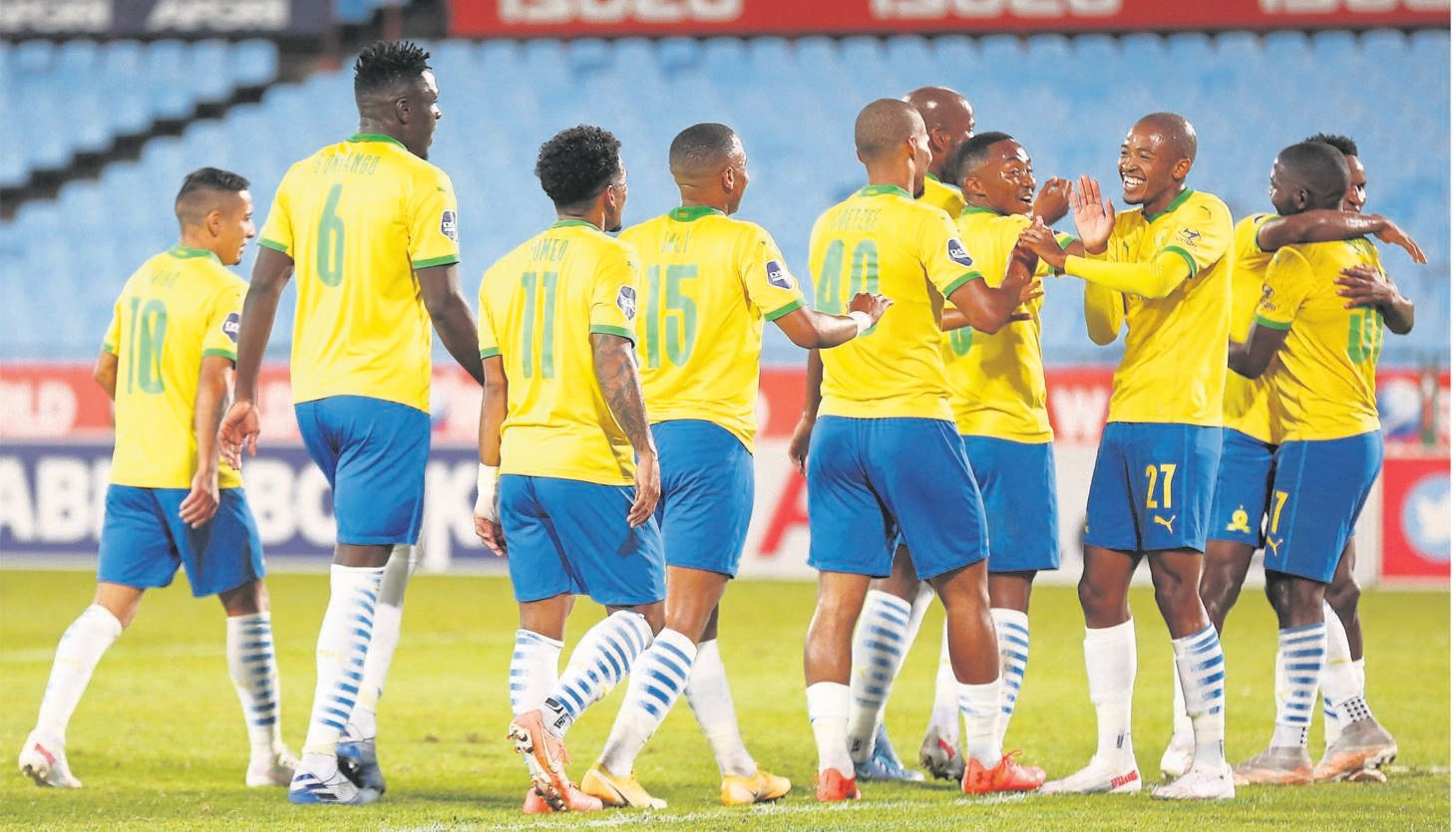 Mamelodi Sundowns players celebrate their third goal, scored by Themba Zwane in their 3-1 win over SuperSport United in the DStv Premiership at Loftus Versfeld in Pretoria on Wednesday night, which saw them wrap up the championship.