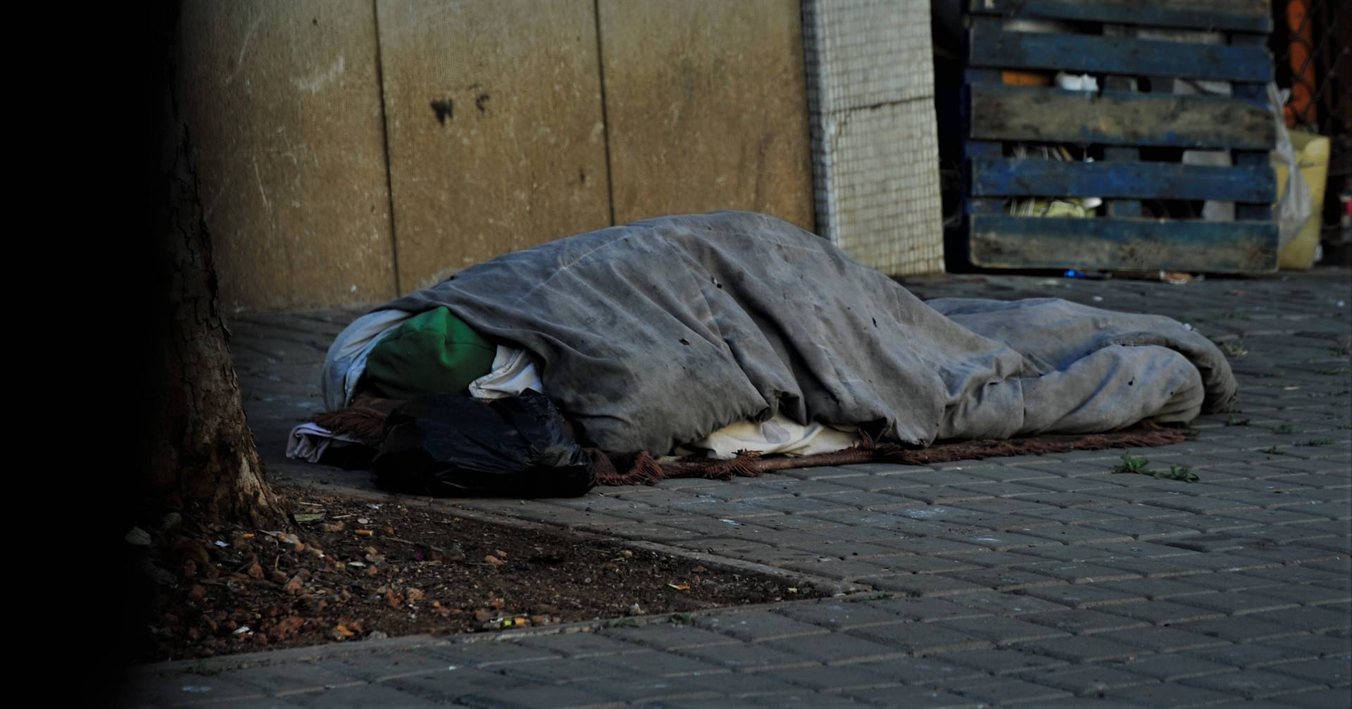 Homeless people are seen at their own shelters in the streets of Braamfontein in Johannesburg. Photo: Rosetta Msimango