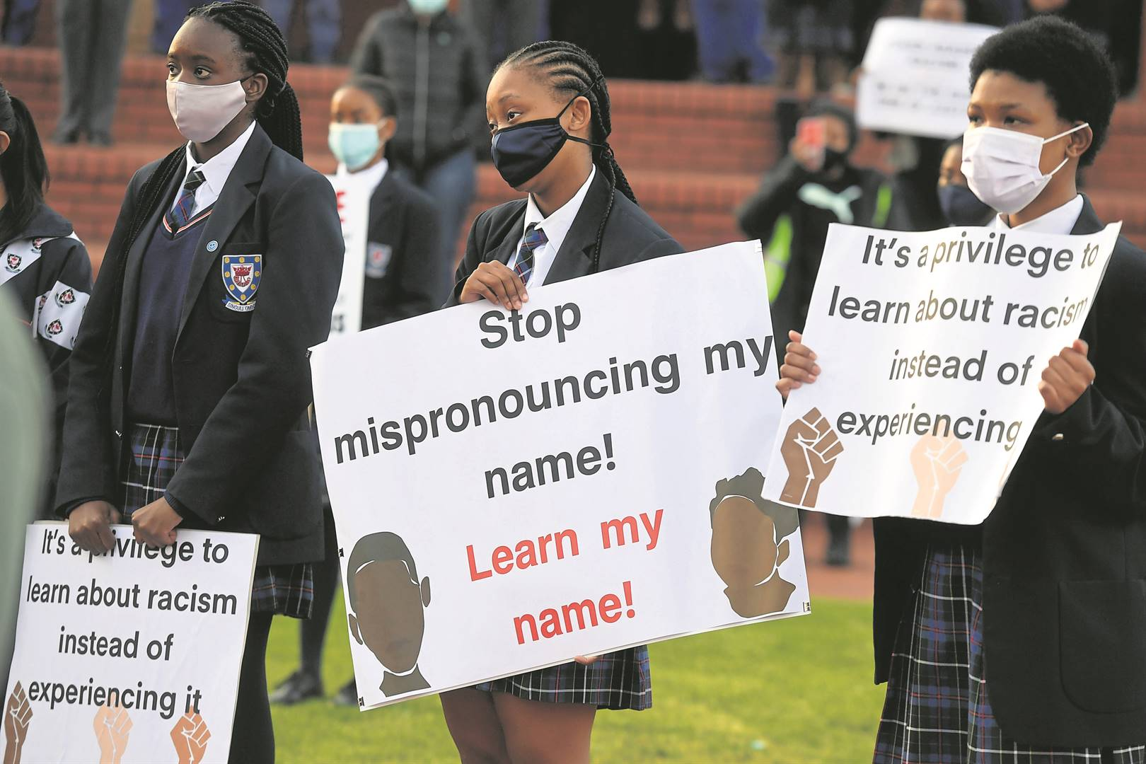 Pupils at Cornwall Hill College in Pretoria taking a stand against racism.