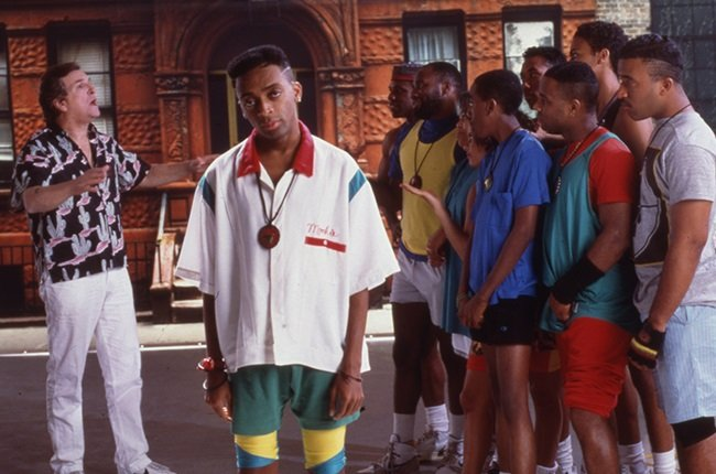 Director and actor Spike Lee (center) on the set o