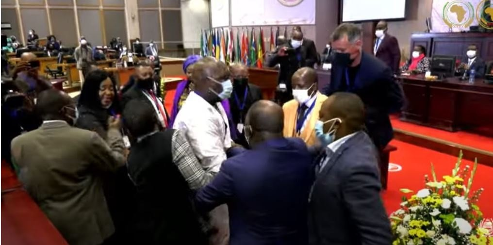 Chaos erupts in the Pan-African Parliament. (Screenshot via Parliament of the Republic of South Africa)