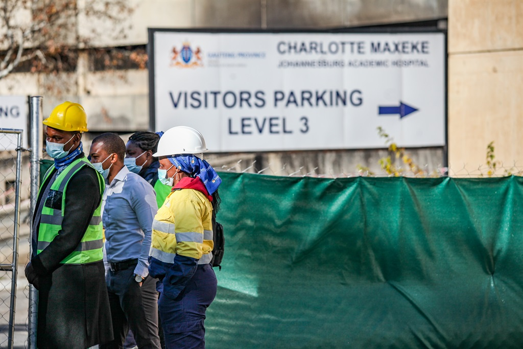 The SA Human Rights Commission conducted a site inspection at Charlotte Maxeke Hospital in Johannesburg on June 1 2021. It is reported that the inspection seeks to assess the extent of the damage caused by a fire and the progress made by contractors in remedying the situation. Photo: Gallo Images/Sharon Seretlo