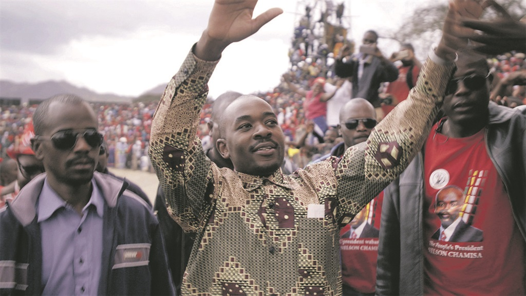 Euphoric: Nelson Chamisa and members of his party during the first elections after Robert Mugabe was dethroned. Photo: supplied