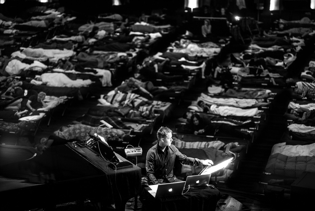 Catch a nap:  Composer and musician Max Richter at his performance of Sleep in a park in Los Angeles, USA. Photo: suppled