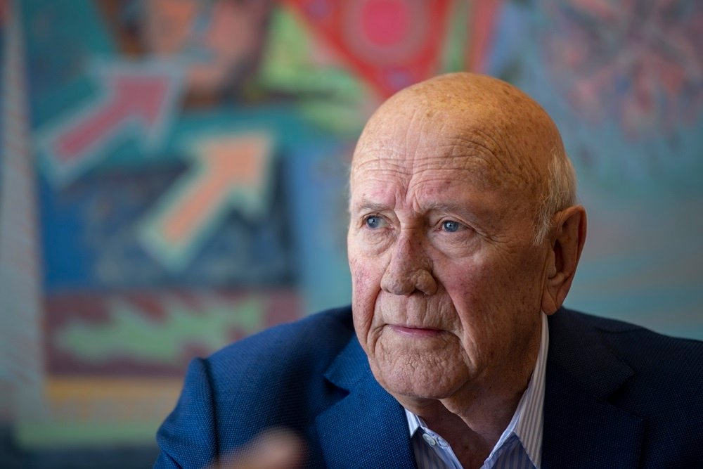 Former South African State President F. W de Klerk speaks during an interview on January 27, 2020 in Cape Town.