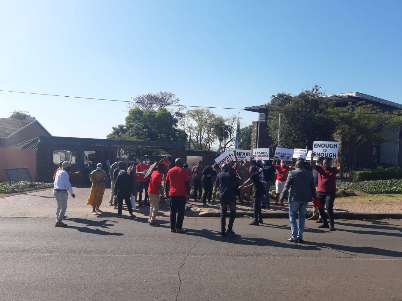 Some employees of the Ingonyama Trust Board picketed outside the offices yesterday to highlight management's alleged refusal to acknowledge their union, Nehawu.