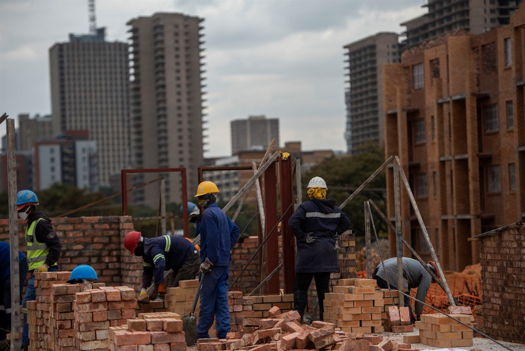 Workers at a housing project site. Photo: Alet Pretorius/Gallo Images/File.