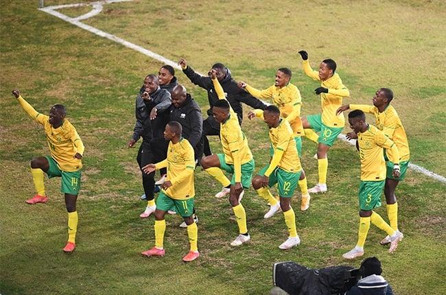 Bongokhuhle Hlongwane of South Africa celebrates scoring. (Photo by Lefty Shivambu/Gallo Images)