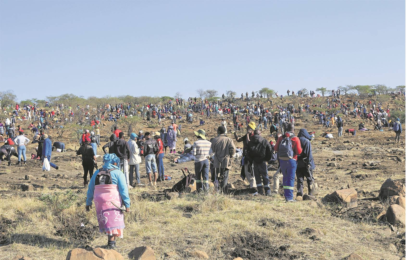 People from as far as Johannesburg and Durban have been digging for diamonds near Ladysmith.