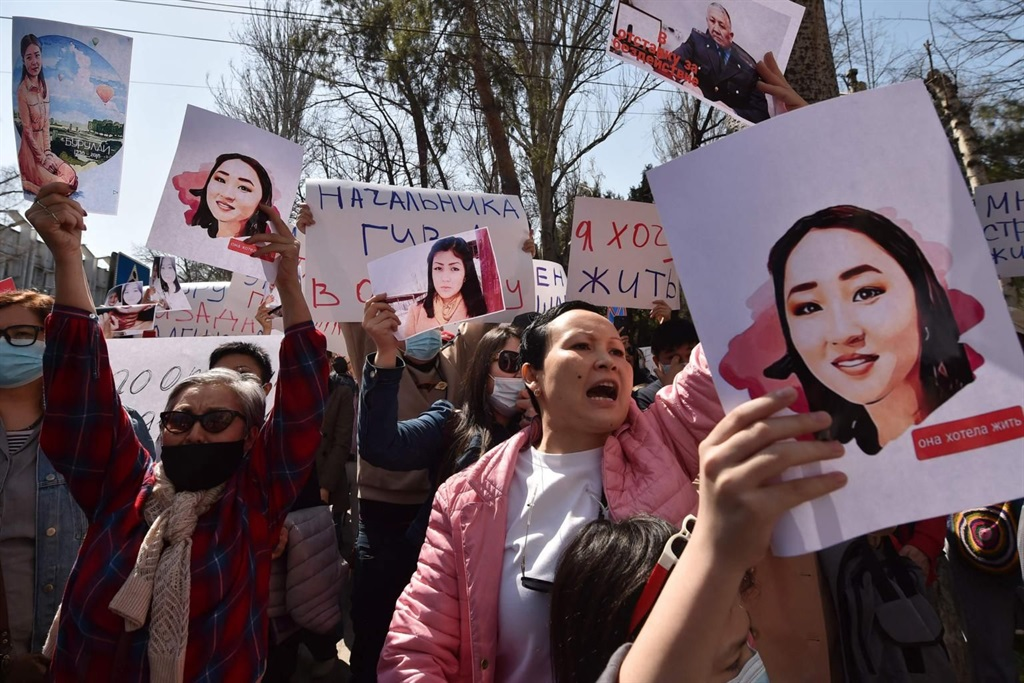 A protest against bride kidnapping in Kyrgyzstan's capital, Bishkek, on April 8, 2021, after a young woman abducted for marriage was found dead. Vyacheslav Oseledko/AFP via Getty Images