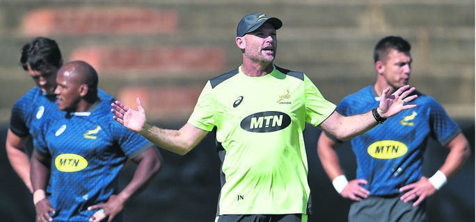 Springbok head coach Jacques Nienaber during the national rugby team's training session at Shimla Park in Bloemfontein on Monday.