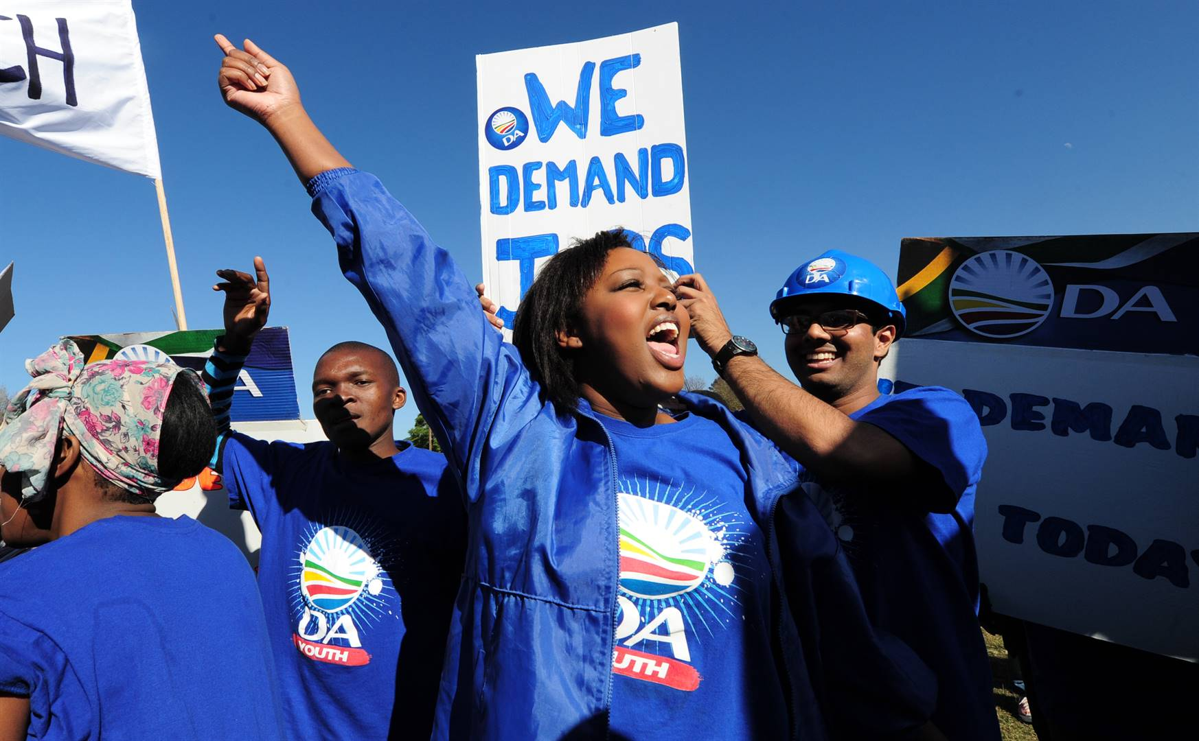 Mbali Ntuli leads a march by the DA Youth through. Photo: Ian Carbutt/File
