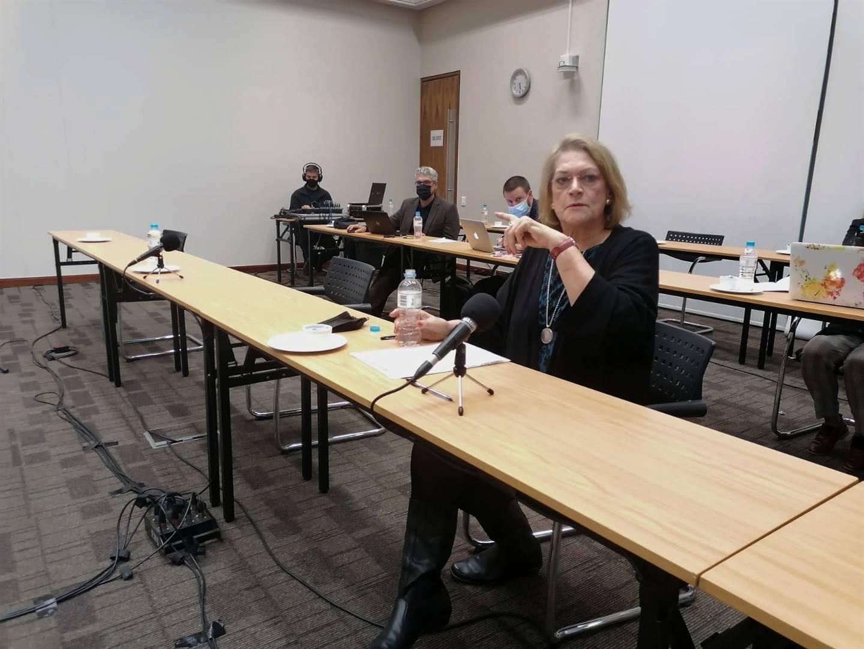 Mariëtha Lemmer, inwonende hoof van die Minerva-dameskoshuis by die Universiteit Stellenbosch (US), getuig voor die MRK. Foto: Ané van Zyl
