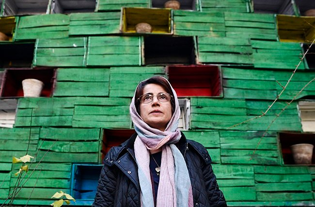 Human rights lawyer Nasrin Sotoudeh photographed in the garden of her office on 9 December 2014 in Tehran, Iran. (Photo: Kaveh Kazemi/Getty Images)
