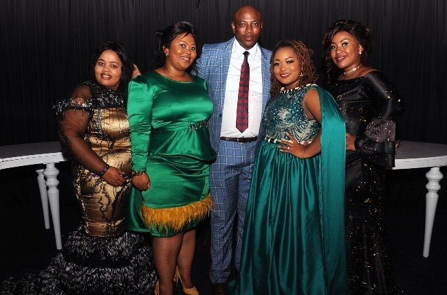 Businessman and reality TV star, Musa Mseleku flanked by his four wives.