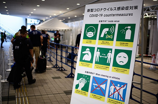 A sign with Covid-19 countermeasures ahead of Tokyo 2020