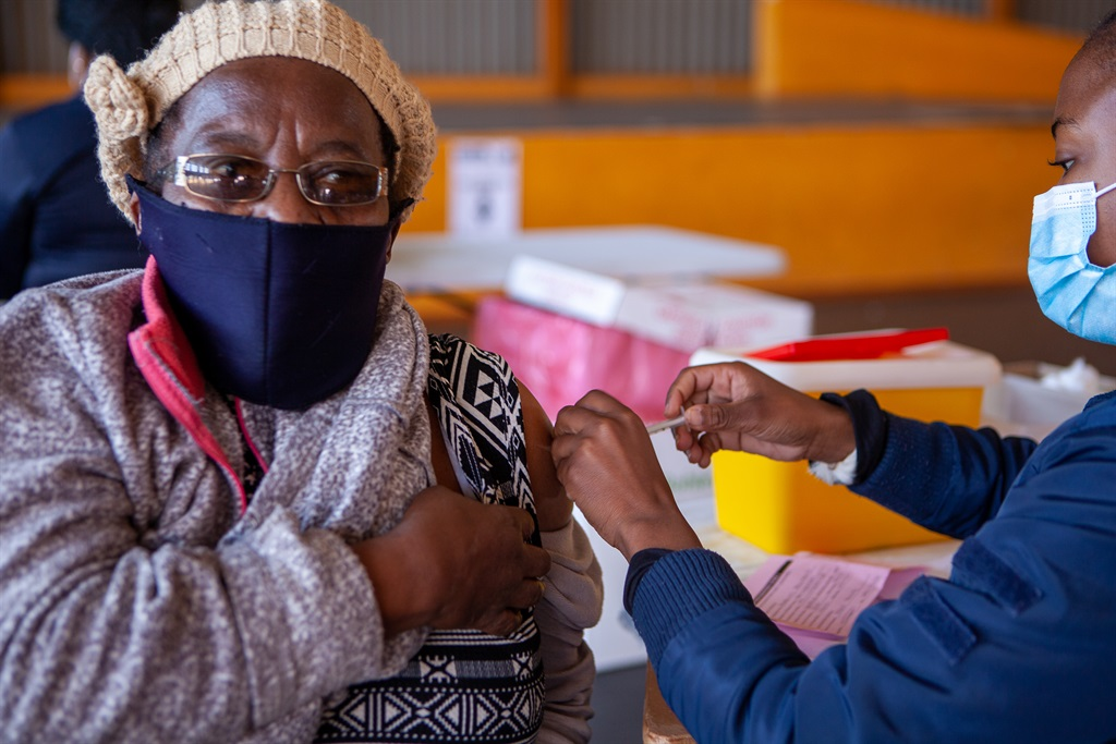 Elders being vaccinated at Meadowlands Community Centre Vaccination Site on  17 June, 2021  in Soweto. The health department launched phase two of the vaccination rollout programme which aims to vaccinate citizens older than 60. (Photo by Gallo Images/Papi Morake)