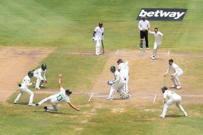 Proteas all-rounder Wiaan Mulder takes the catch to dismiss West Indies batter Joshua Da Silva to complete Keshav Maharaj's Test hat-trick on the fourth-day of the second Test in St Lucia.