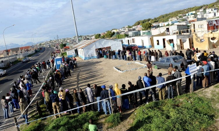 Residents in a Cape Town suburb queue to vote during previous municipal elections in South Africa. Photo: Foto24/Gallo Images/Getty Images
