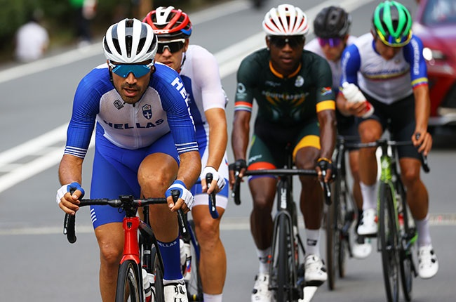 South Africa's Nicholas Dlamini (middle) in cycling road race at Olympics
