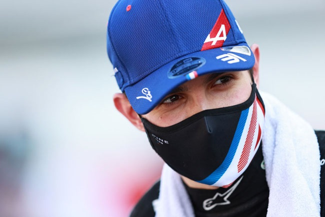 Esteban Ocon of France and Alpine F1 Team talks to the media in the Paddock after qualifying ahead of the F1 Grand Prix of Hungary at Hungaroring on July 31, 2021 in Budapest, Hungary.