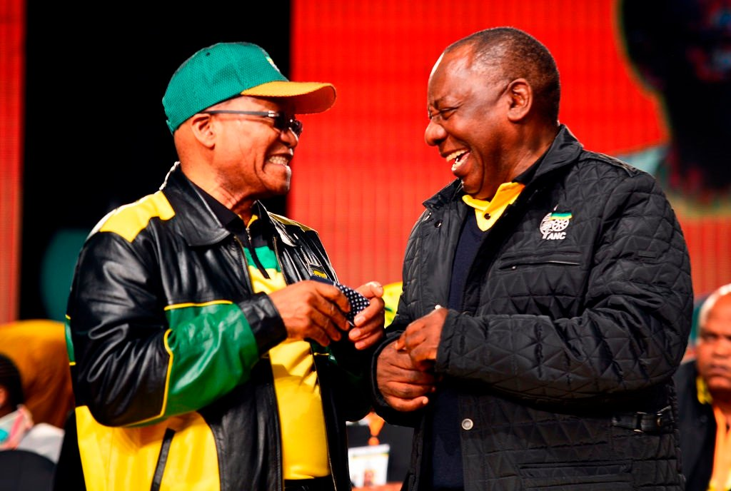 Happier times... Jacob Zuma and Cyril Ramaphosa photographed at the ANC's national policy conference in 2017.