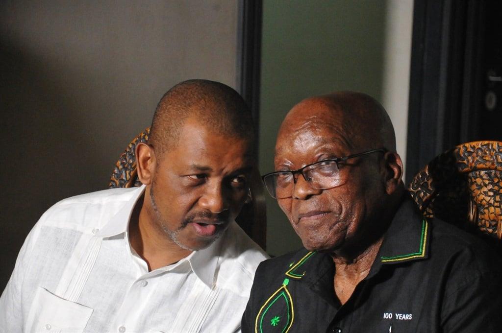Former president Jacob Zuma with his lawyer, advocate Dali Mpofu, during a media briefing in Nkandla. Photo by Jabulani Langa