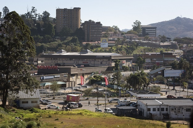 A general view of Mbabane on July 3, 2021 as a ten