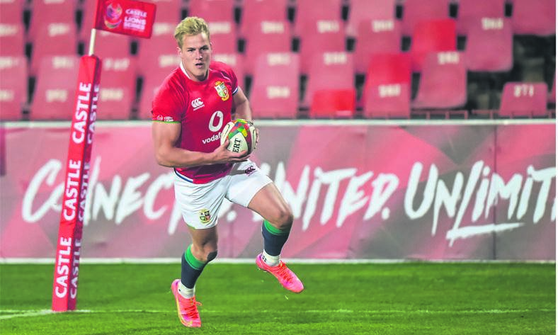Duhan van der Merwe of the British and Irish Lions on his way to scoring a try against the Sharks in Johannesburg on Wednesday.