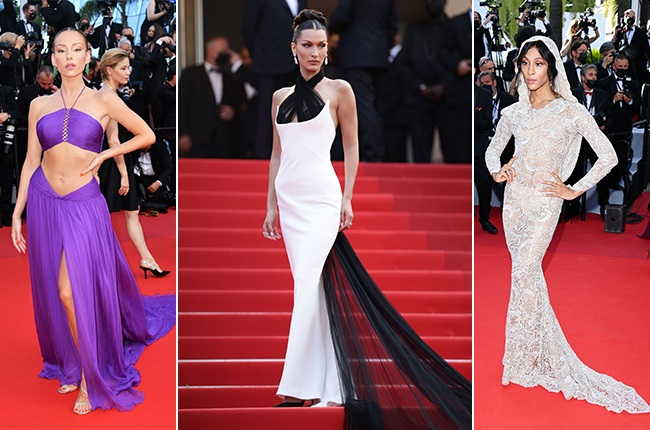 Ester Expósito, Bella Hadid and Michaela Jaé on the Cannes Film Festival red carpet. Photos: Getty Images