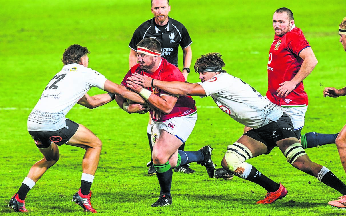 Wyn Jones of the British and Irish Lions on the offensive during Saturday's Tour match against the Sharks at Loftus Versfeld in Pretoria, won 71-31 by the international team.